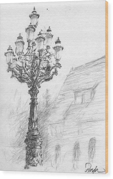 Antique Lampost Wood Print by Horacio Prada