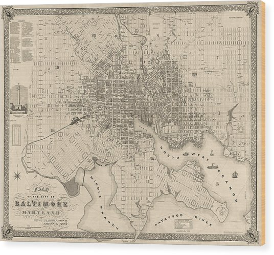 Antique Map Of Baltimore Maryland By Sidney And Neff - 1851 Wood Print