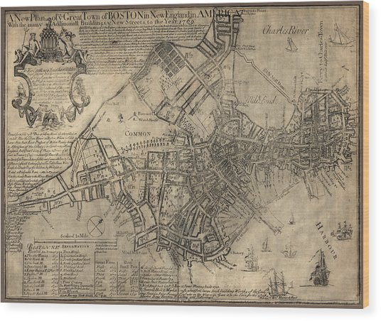 Antique Map Of Boston By William Price - 1769 Wood Print