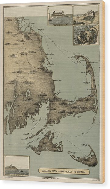 Antique Map Of Cape Cod Massachusetts By J. H. Wheeler - 1885 Wood Print