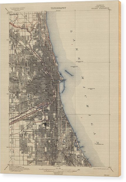 Antique Map Of Chicago - Usgs Topographic Map - 1901 Wood Print