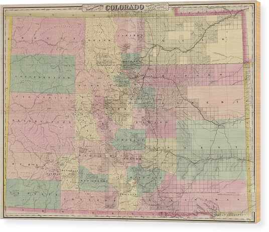Antique Map Of Colorado By G.w. And C.b. Colton And Co. - 1878 Wood Print by Blue Monocle