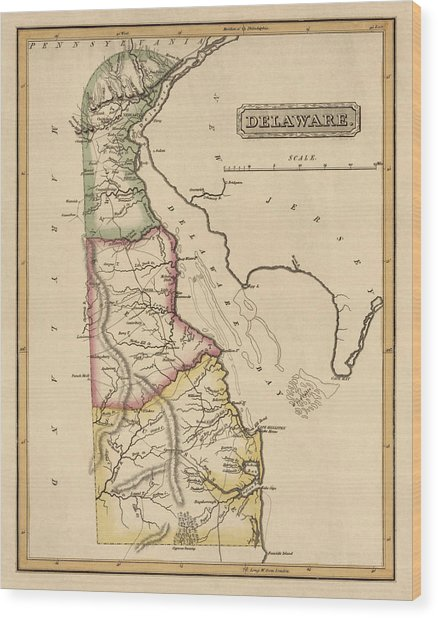 Antique Map Of Delaware By Fielding Lucas - Circa 1817 Wood Print by Blue Monocle