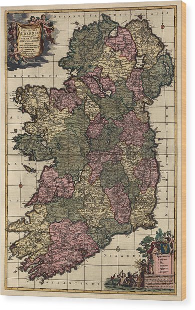 Antique Map Of Ireland By Frederik De Wit - Circa 1700 Wood Print