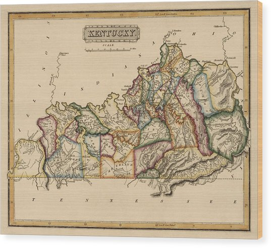 Antique Map Of Kentucky By Fielding Lucas - Circa 1817 Wood Print