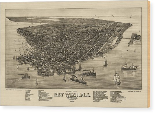 Antique Map Of Key West Florida By J. J. Stoner - 1884 Wood Print