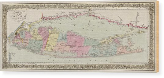 Antique Map Of Long Island By J.h. Colton And Co. - 1857 Wood Print
