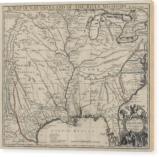 Antique Map Of Louisiana And The Mississippi River By John Senex - 1721 Wood Print