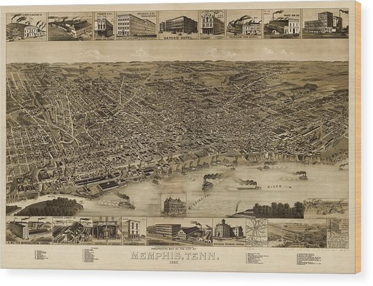 Antique Map Of Memphis Tennessee By H. Wellge - 1887 Wood Print