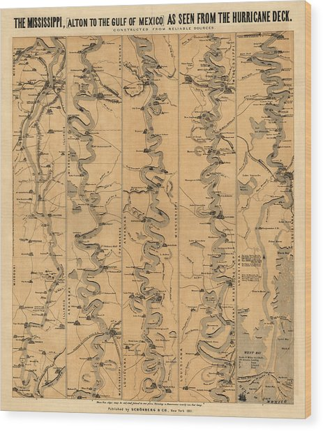 Antique Map Of Mississippi River By Schonberg And Co. - 1861 Wood Print