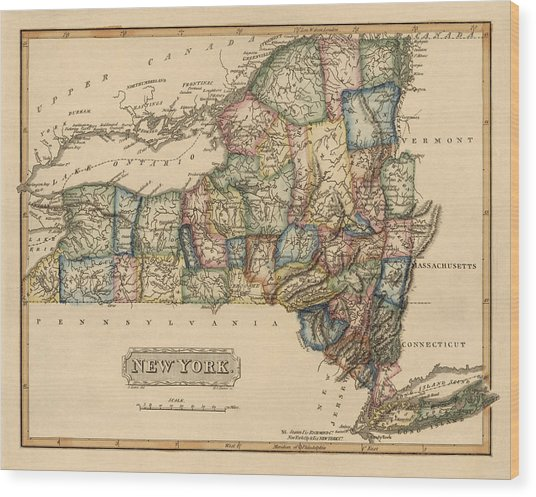 Antique Map Of New York State By Fielding Lucas - Circa 1817 Wood Print