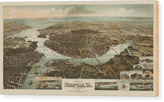 Antique Map Of Norfolk And Portsmouth Virginia By H. Wellge - 1892 Wood Print by Blue Monocle