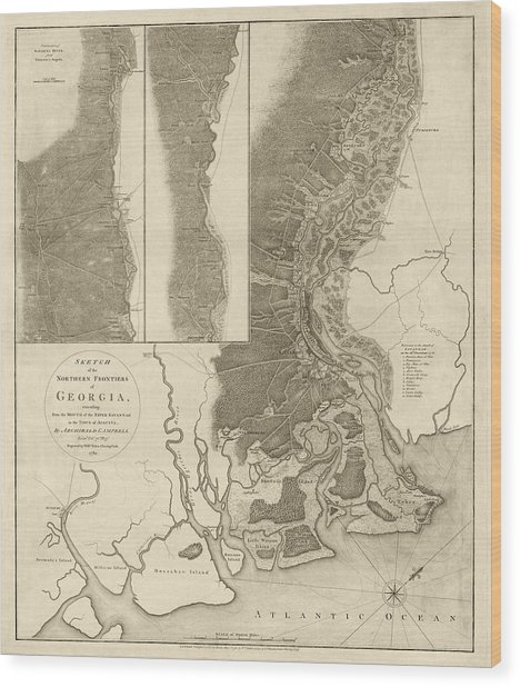 Antique Map Of Savannah Georgia By Archibald Campbell - 1780 Wood Print
