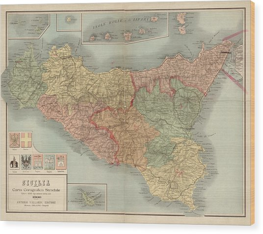 Antique Map Of Sicily Italy By Antonio Vallardi - 1900 Wood Print by Blue Monocle