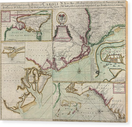 Antique Map Of South Carolina By Edward Crisp - Circa 1711 Wood Print by Blue Monocle