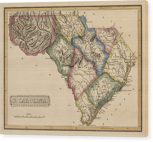 Antique Map Of South Carolina By Fielding Lucas - Circa 1817 Wood Print by Blue Monocle