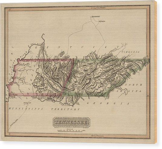 Antique Map Of Tennessee By Fielding Lucas - Circa 1817 Wood Print by Blue Monocle