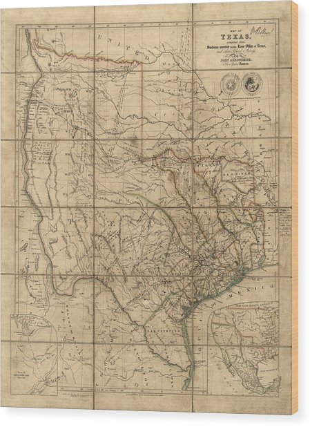 Antique Map Of Texas By John Arrowsmith - 1841 Wood Print