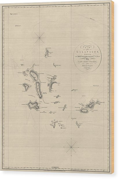 Antique Map Of The Galapagos Islands By James Colnett - 1798 Wood Print