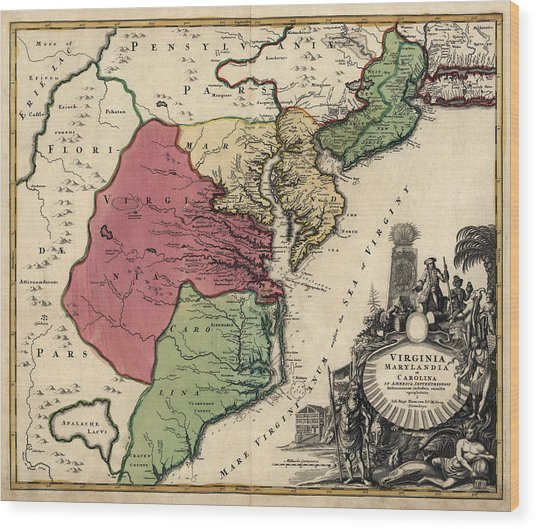 Antique Map Of The Middle American Colonies By Johann Baptist Homann - Circa 1759 Wood Print by Blue Monocle