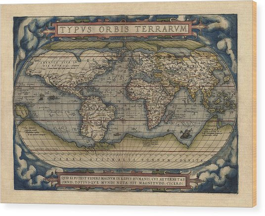 Antique Map Of The World By Abraham Ortelius - 1570 Wood Print