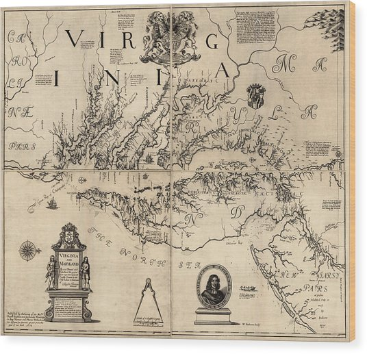 Antique Map Of Virginia And Maryland By Augustine Herrman - 1673 Wood Print