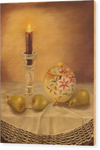 Antique Nippon In Candle Light Wood Print