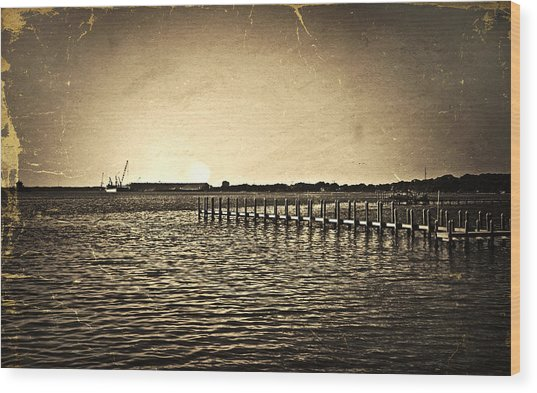 Antique Photo Of Pier  Wood Print