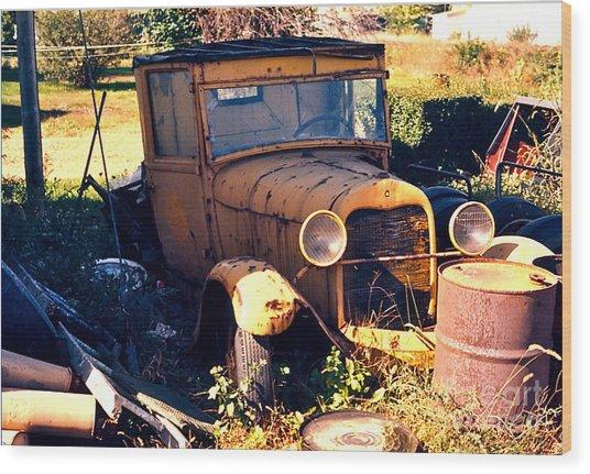 Antique Pick-up Truck Rusting Away Wood Print by Robert Birkenes