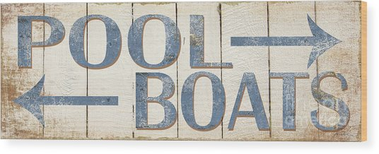 Antique Pool Boat Sign Wood Print