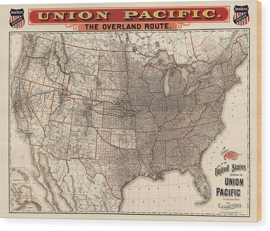 Antique Railroad Map Of The United States - Union Pacific - 1892 Wood Print