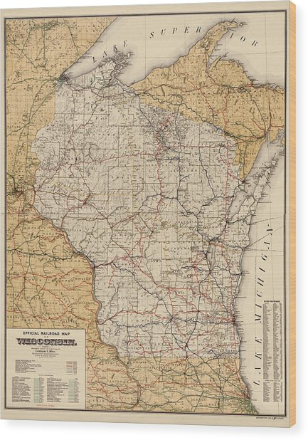 Antique Railroad Map Of Wisconsin - 1900 Wood Print