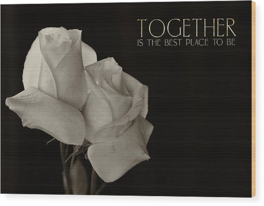 Antique Roses With Message Wood Print