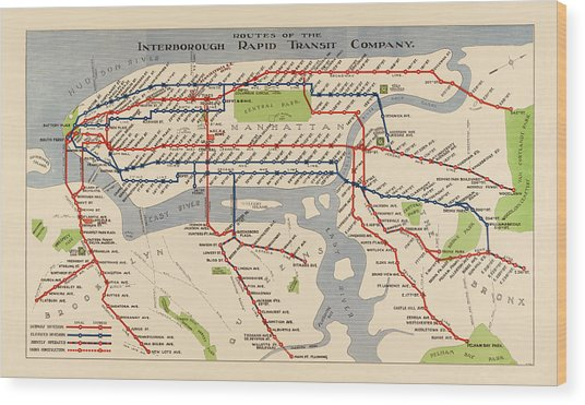 Antique Subway Map Of New York City - 1924 Wood Print