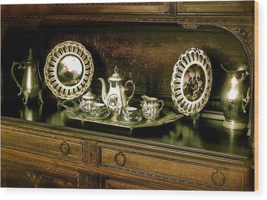 Antique Tea Set Wood Print