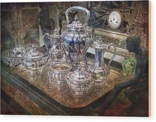 Antique Tiffany Sterling Silver Coffee Tea Set Wood Print