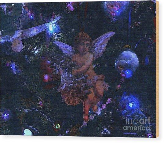 Antiqued Angel Blue Wood Print by Roxy Riou
