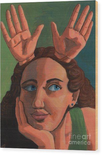Antlered Girl Wood Print