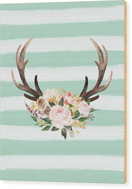 Antlers On Stripes Turquoise Wood Print