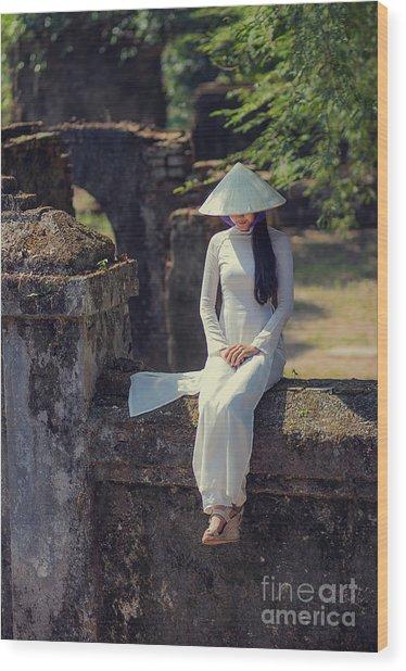 Ao Dai White Wood Print
