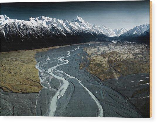 Aoraki/mont Cook And Tasman Lake Valley Wood Print