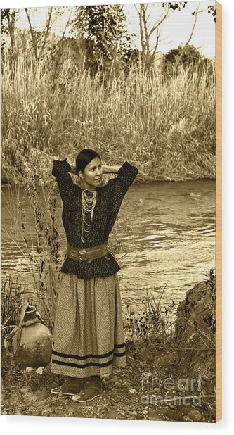 Apache River Maiden Wood Print