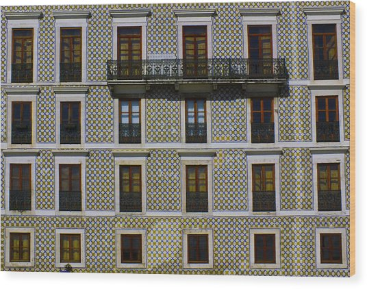 Apartment Block In Lisbon  Wood Print