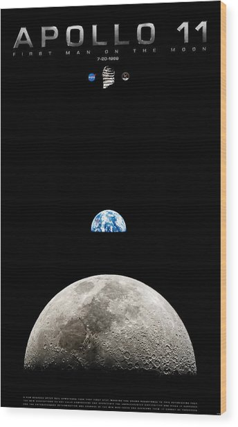 Apollo 11 First Man On The Moon Wood Print