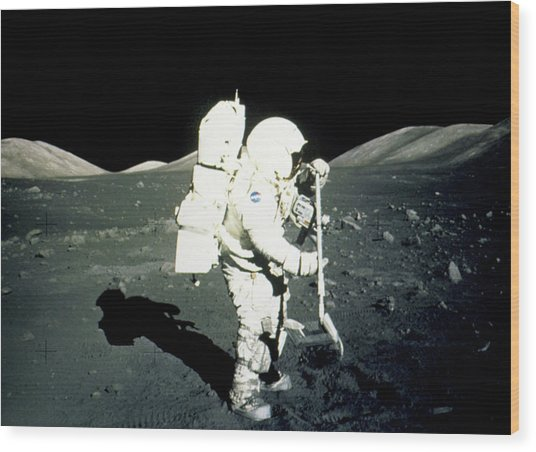Apollo 17 Astronaut Collecting Lunar Rock Samples Wood Print by Nasa/science Photo Library