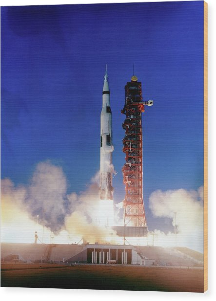 Apollo 8 Launch Wood Print
