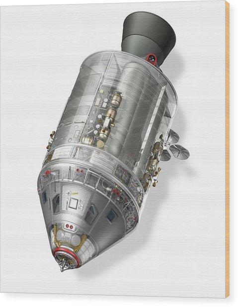 Apollo Command Service Module Wood Print by Carlos Clarivan/science Photo Library