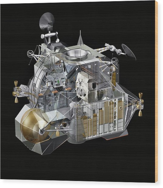 Apollo Lunar Module Ascent Stage Wood Print by Carlos Clarivan/science Photo Library