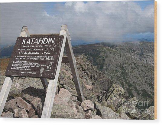 Appalachian Trail Mount Katahdin Wood Print