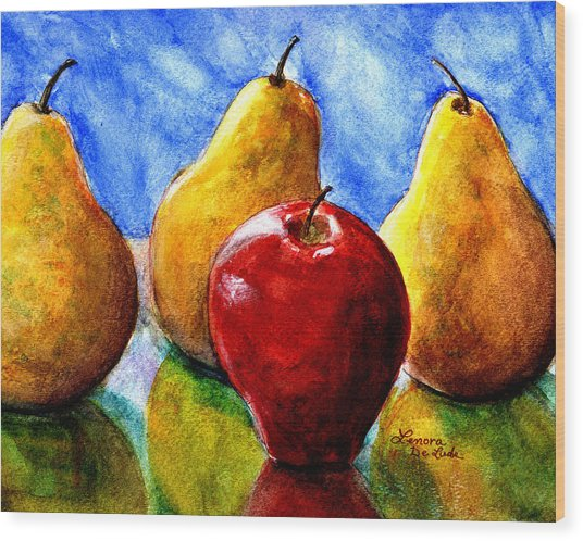 Apple And Three Pears Still Life Wood Print